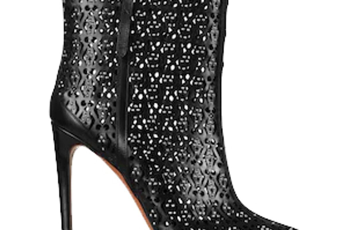 alaia calfskin stiletto ankle boot