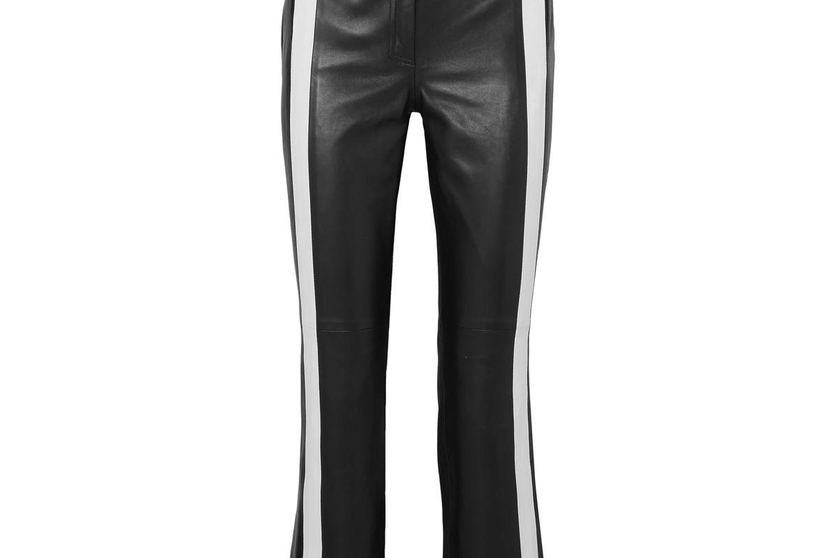 mugler striped leather kick flare pants