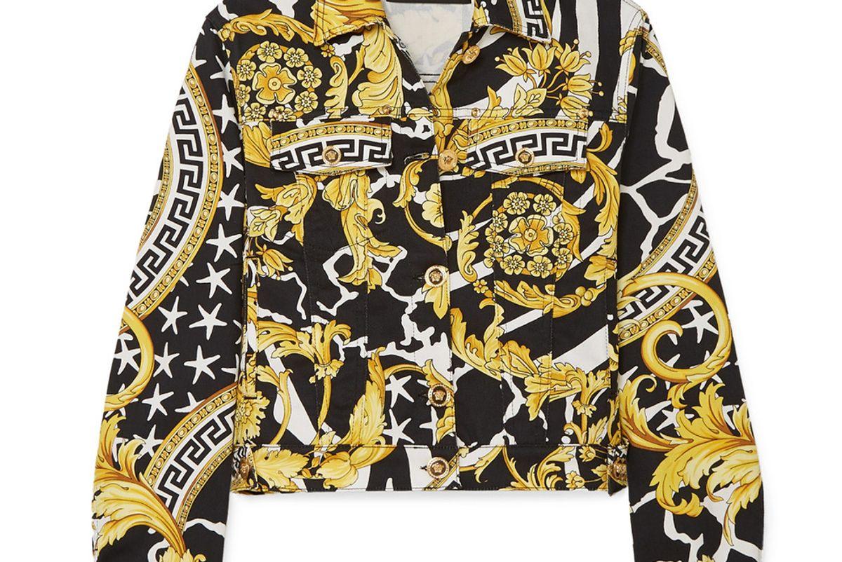 versace cropped printed denim jacket