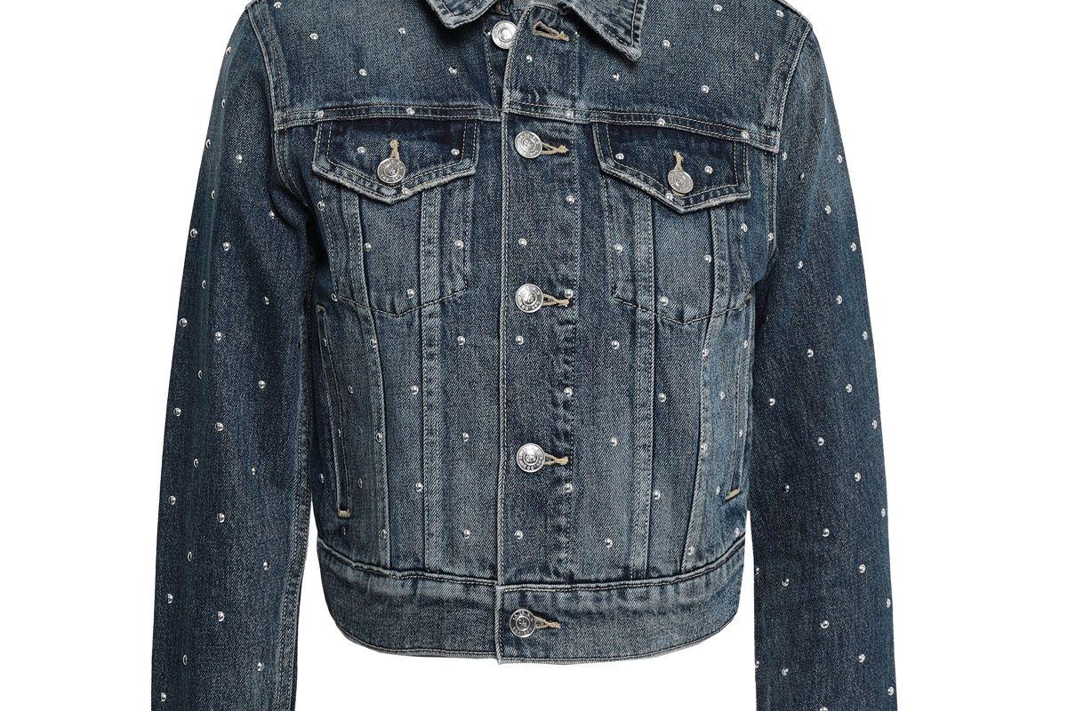 current elliott cropped studded denim jacket