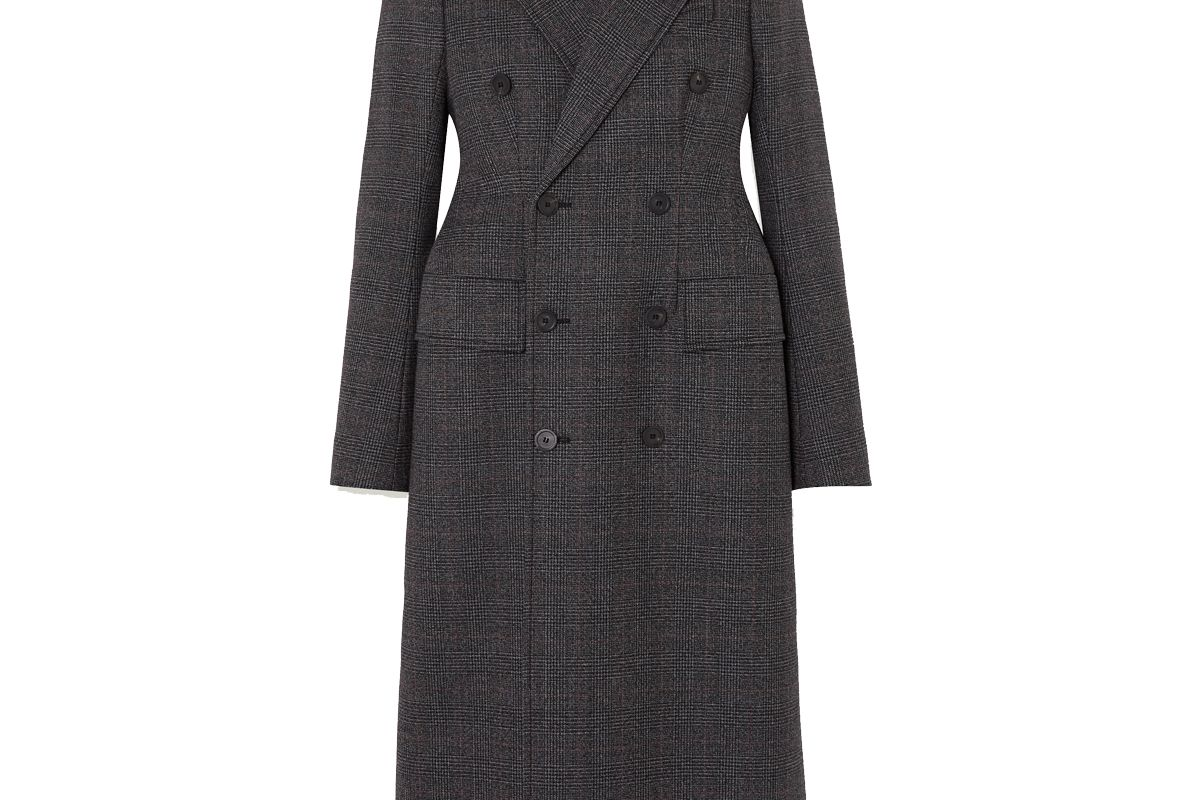 balenciaga double breasted prince of wales checked wool coat