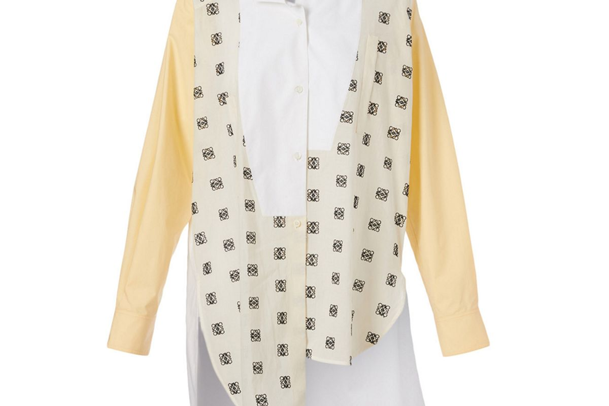 loewe cotton asymmetric shirt in logo print