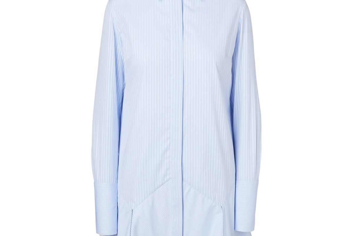 victoria victoria beckham cotton shirt dress in stripe print