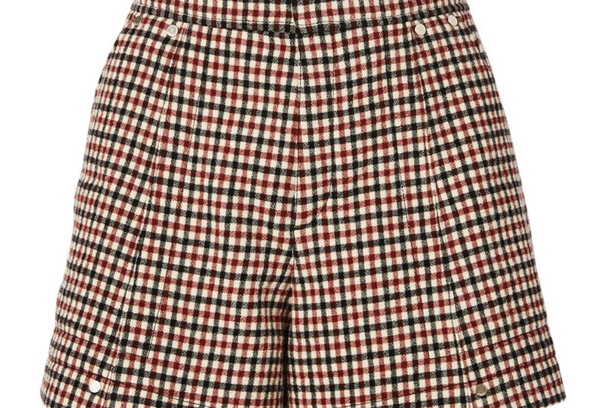 chloe wool high waisted shorts in check print