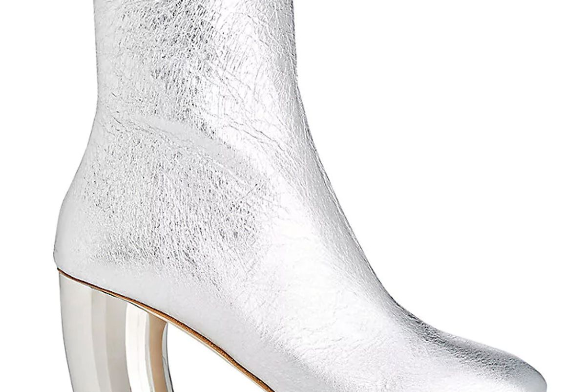 Curved-Heel Metallic Leather Ankle Boots