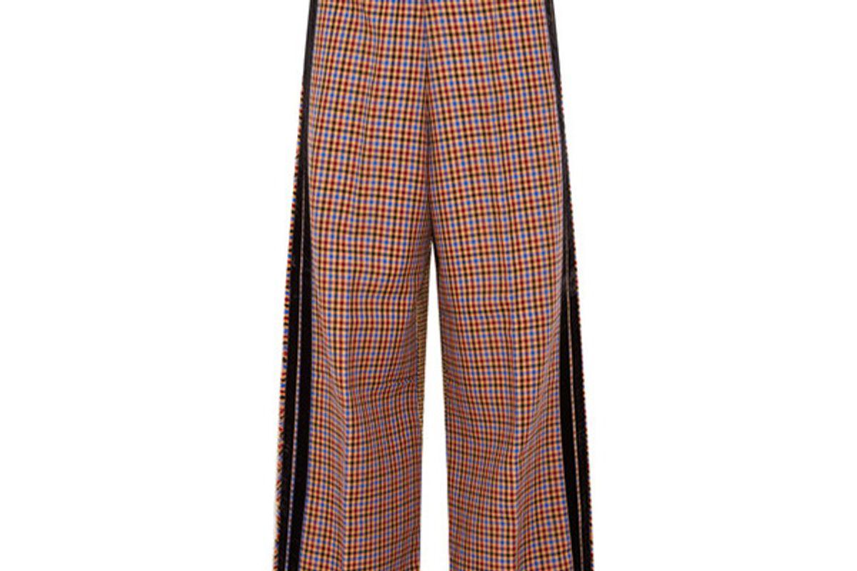Sophie velvet-trimmed wool-blend wide-leg pants