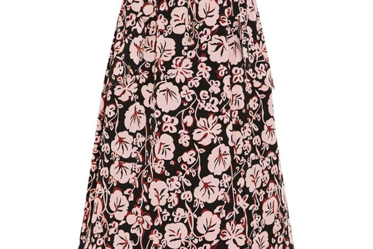 Printed silk crepe de chine midi skirt