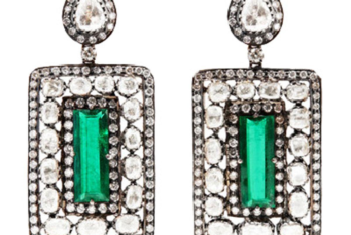 18-karat gold, silver, emerald and diamond earrings