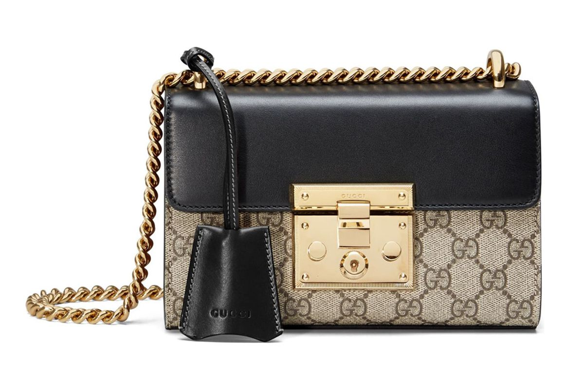 gucci small padlock gg supreme canvas and leather shoulder bag