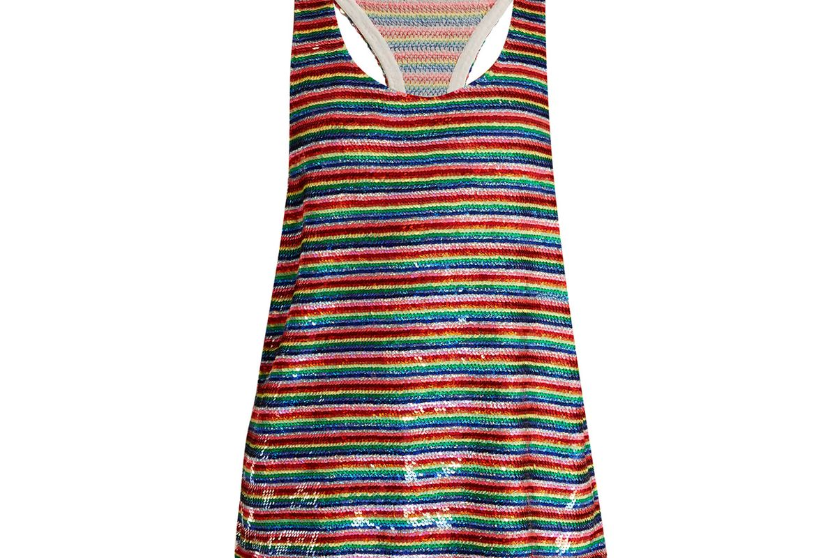 Ashish Rainbow-striped sequin-embellished silk top