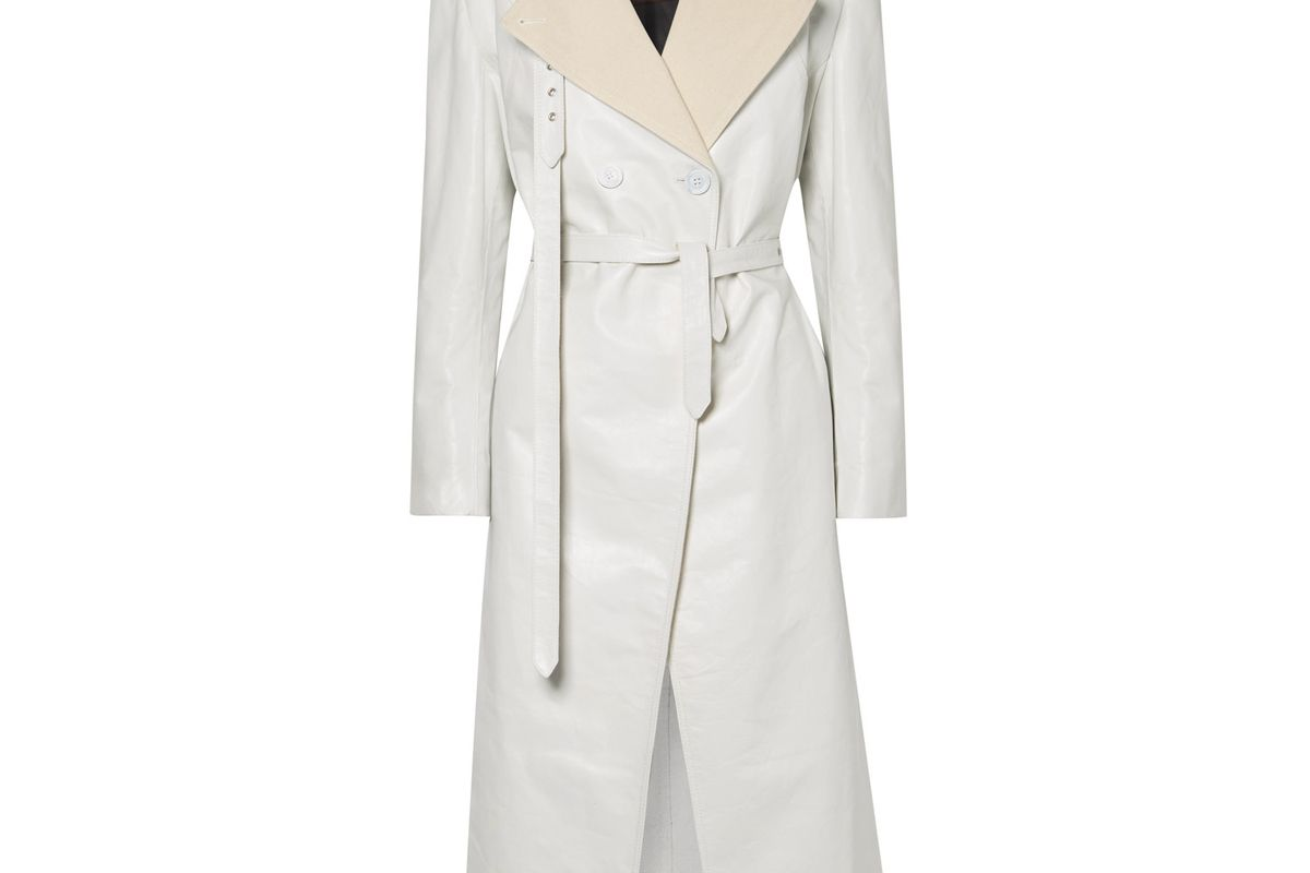 peter do canvas trimmed leather trench coat