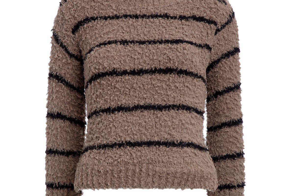 Fuzzy Striped Cotton Bouclé Crew
