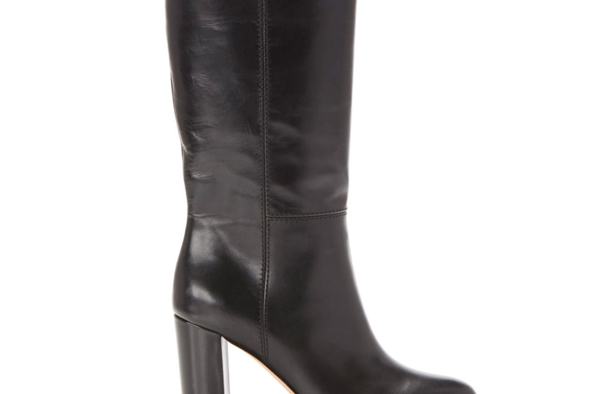 marion parke delila leather block heel mid calf boot