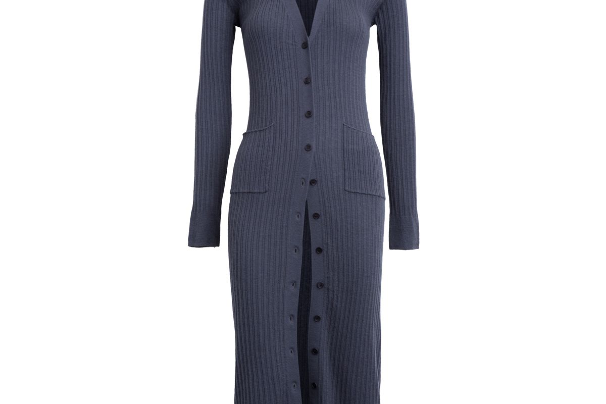 Mix Ribbed Cashmere Long Button Cardigan