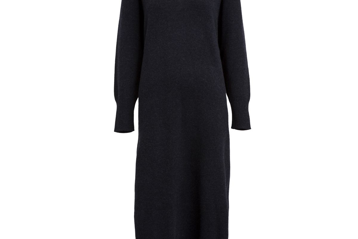Side Slit Wool and Cashmere Dress