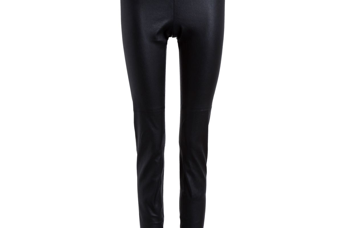 Zip Ankle Stretch Leather Legging