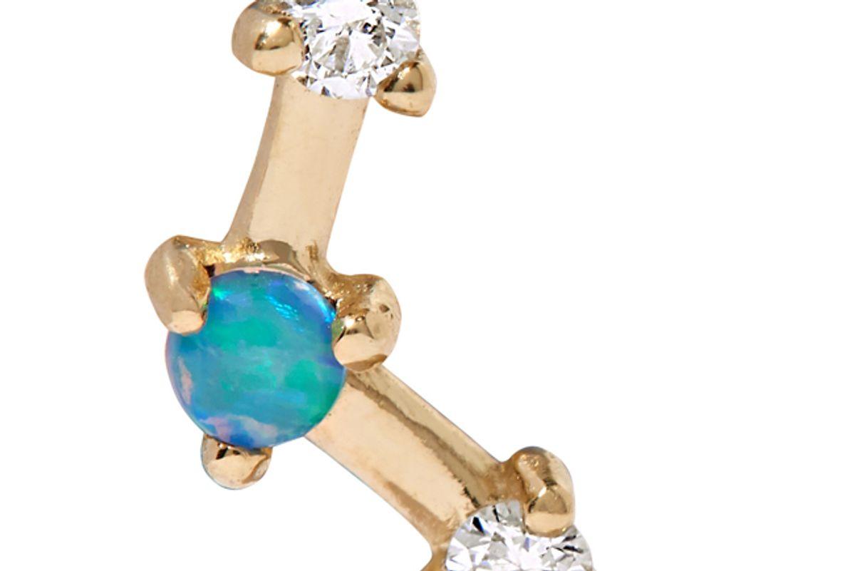 wwake mini three step point gold opal and diamond earring