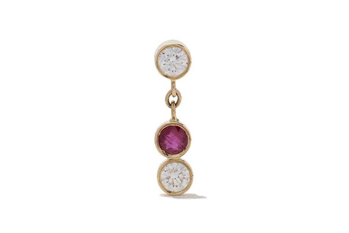 gemsfields x the alkemistry x gemfields 18kt yellow gold diamond and ruby drop earrings