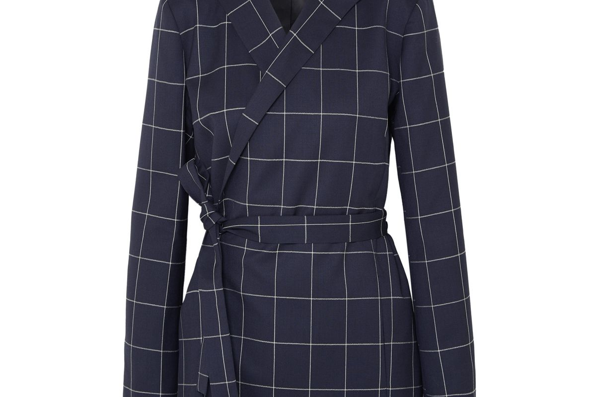 mother of pearl checked organic wool blazer