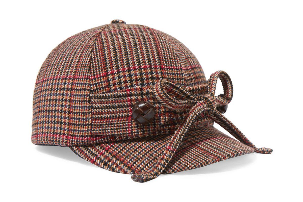 miu miu checked wool blend tweed cap