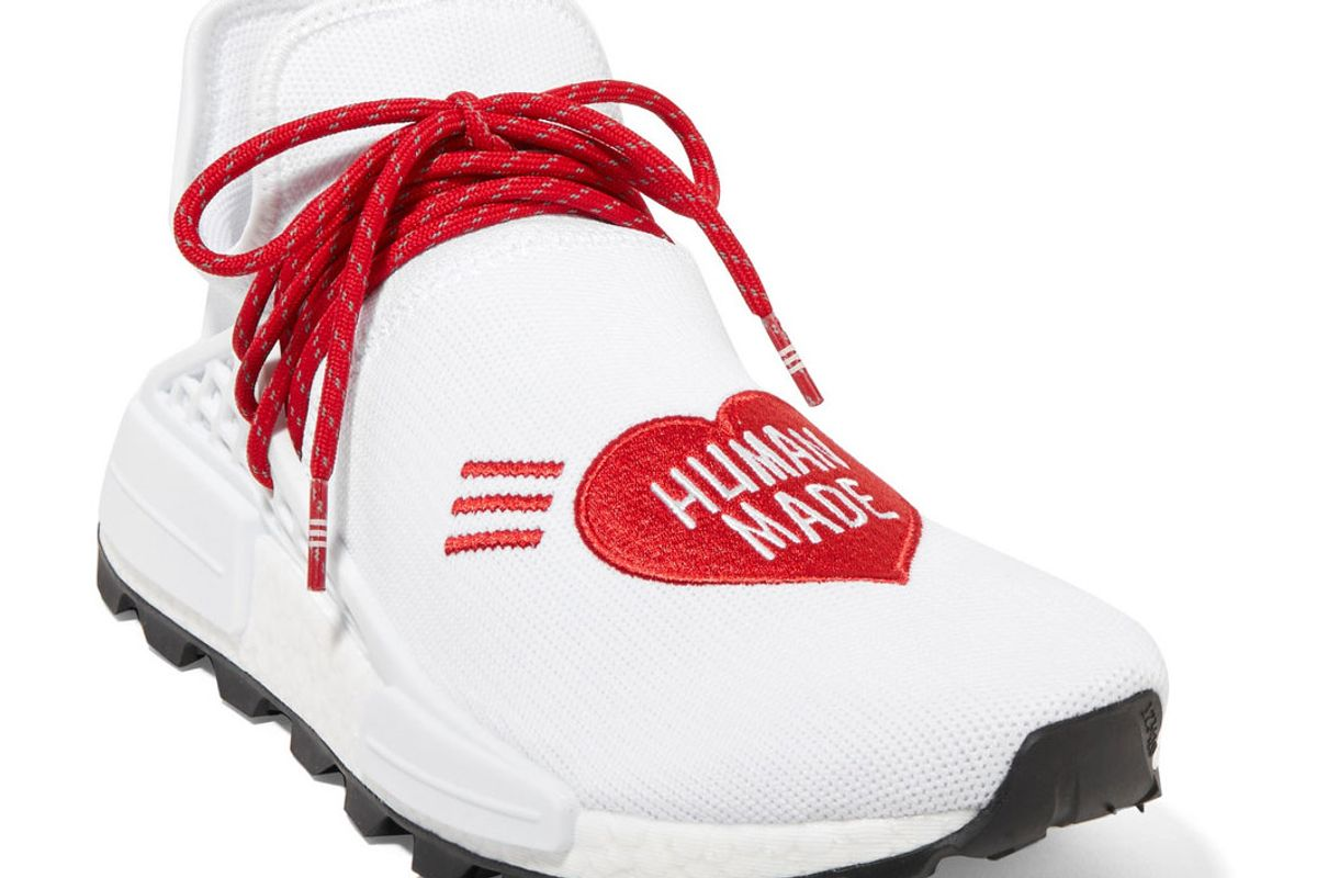 adidas pharrell williams human made nmd hu appliqued stretch knit sneakers