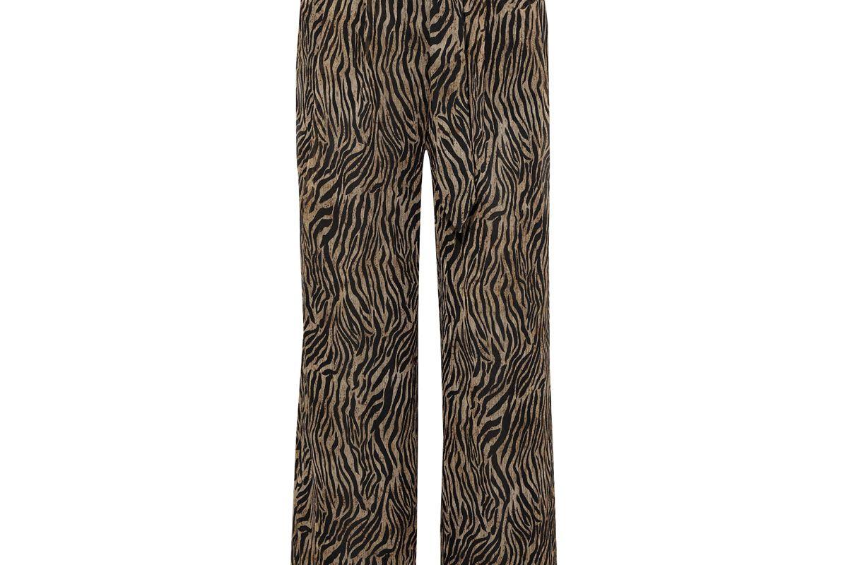 nanusha plisse printed chiffon wide leg pants