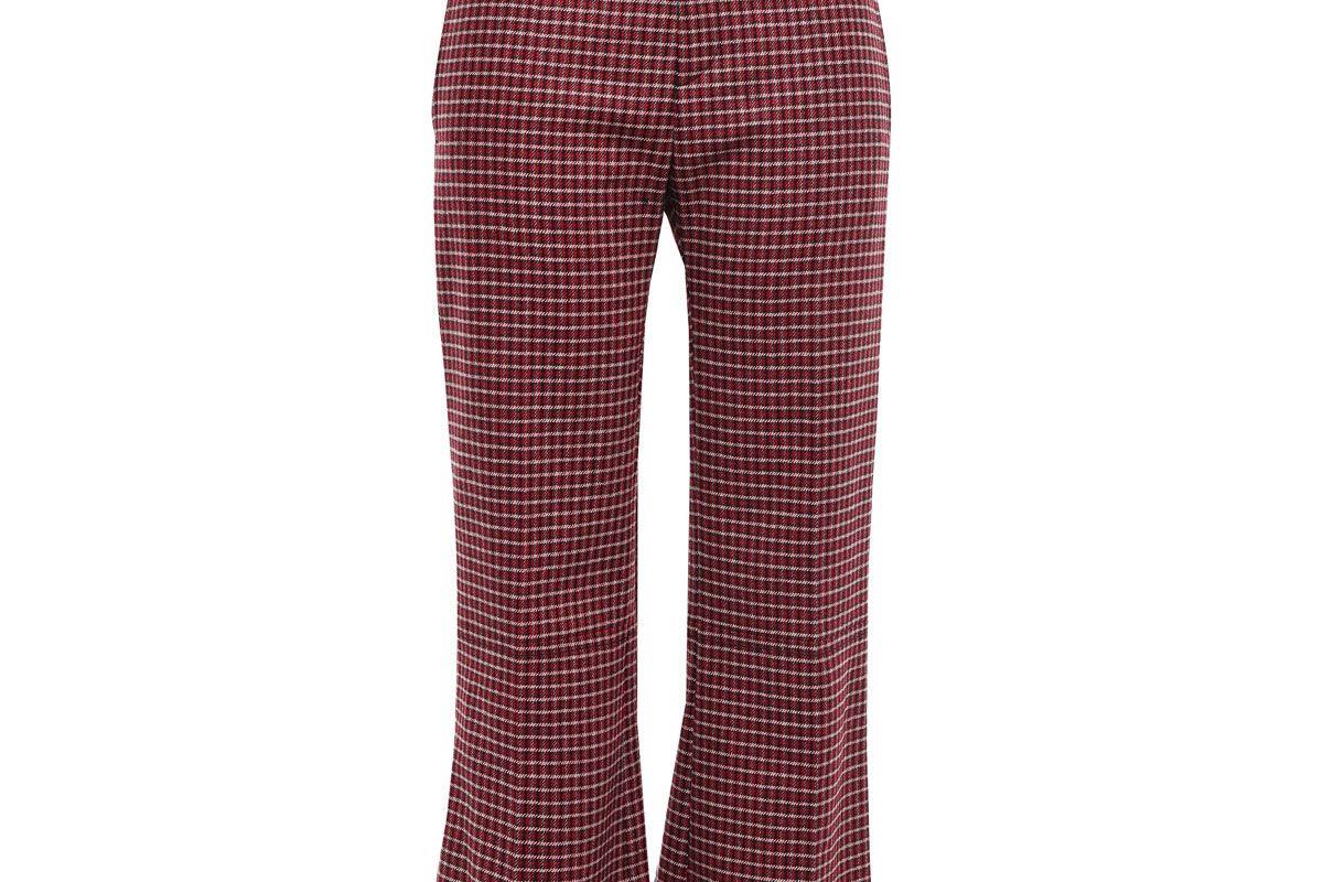 chloe checked wool blend tweed bootcut pants