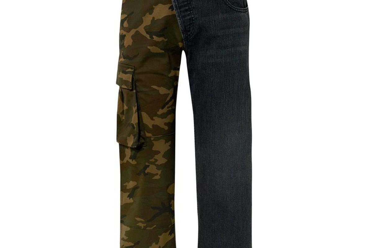 monse printed twill and denim straight leg pants