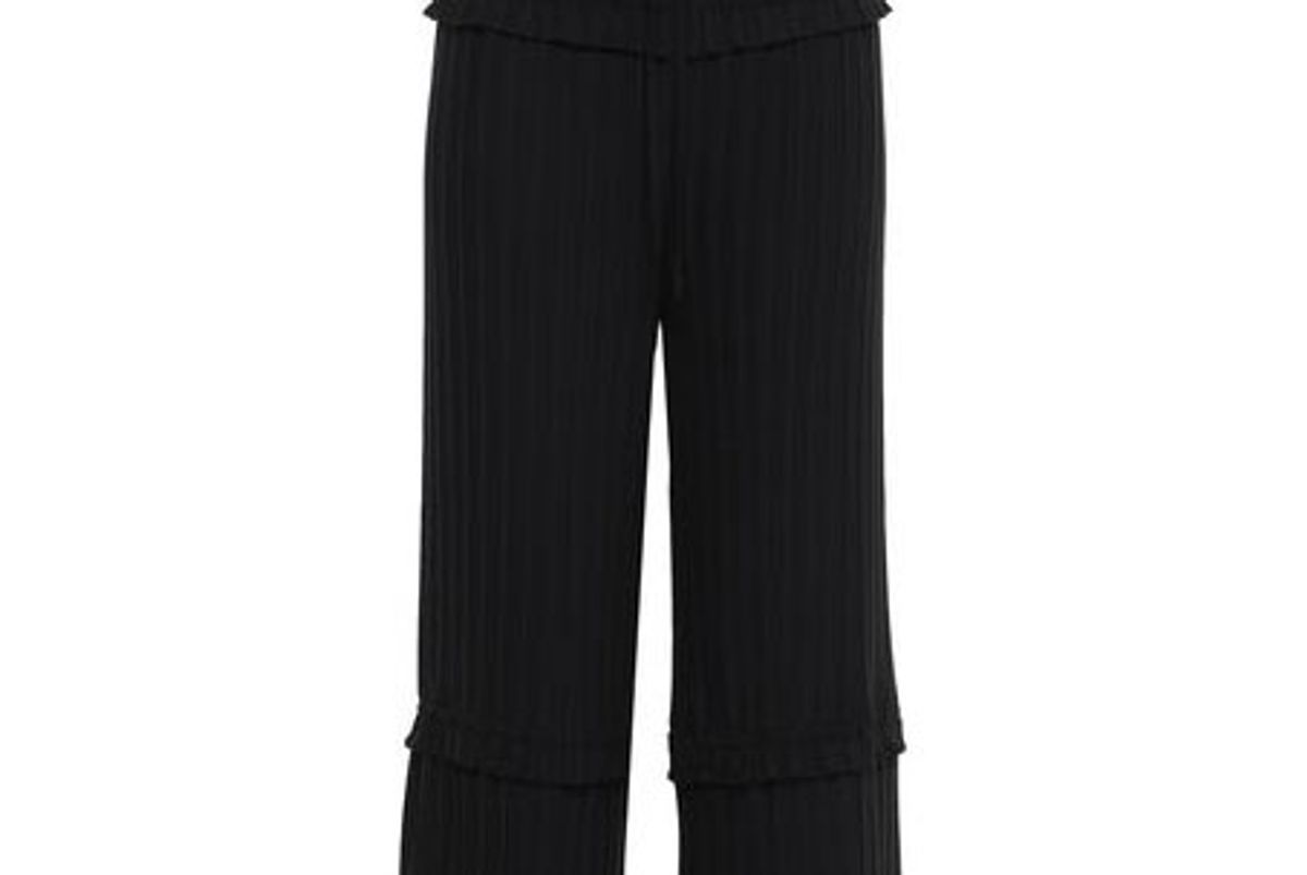 3.1 phillip lim cropped pleated crepe wide leg pants