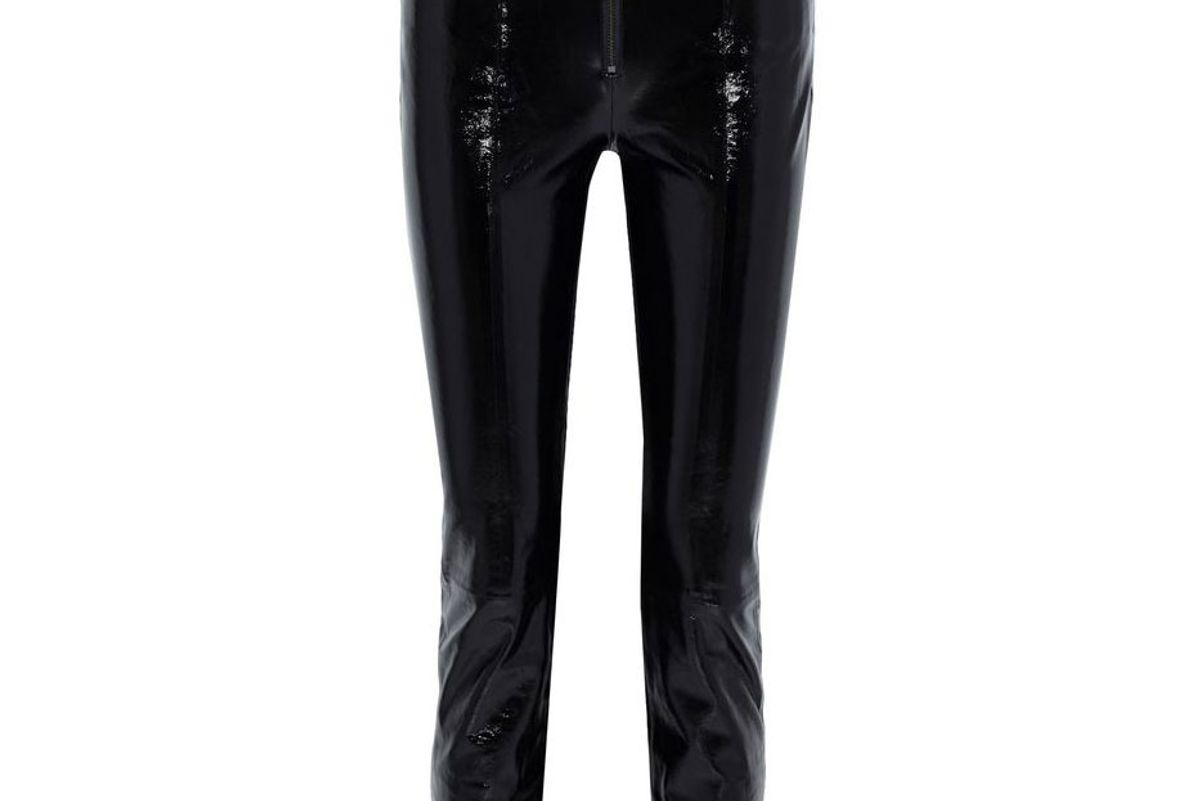 frame slick textured patent leather slim leg pants