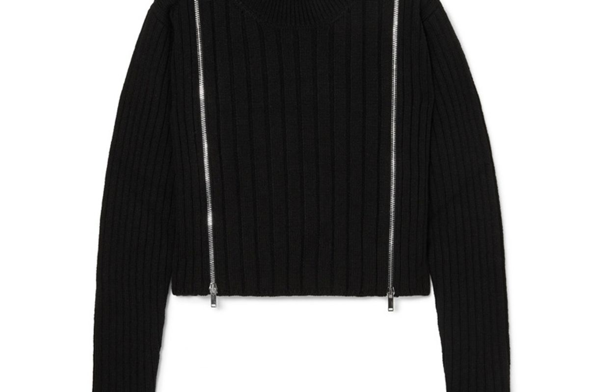 palm angels cropped zip detailed ribbed wool blend turtleneck sweater