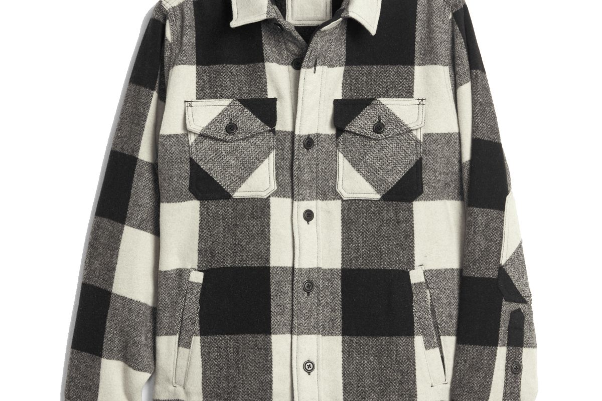 gap cozy wool blend plaid shirt jacket