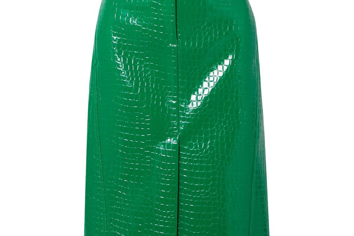 tibi croc effect faux patent leather midi skirt