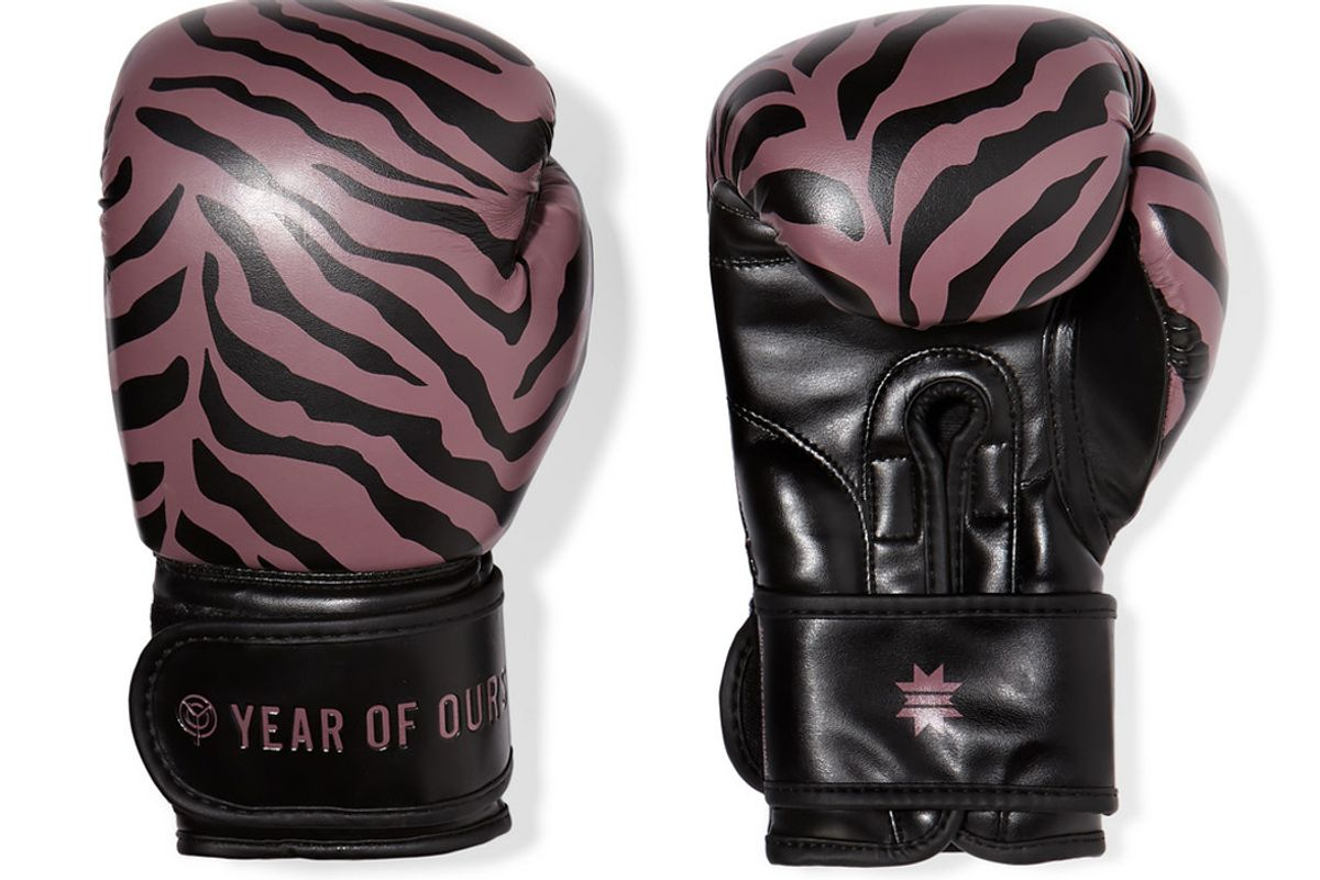 year of ours kali active tiger print faux leather boxing gloves