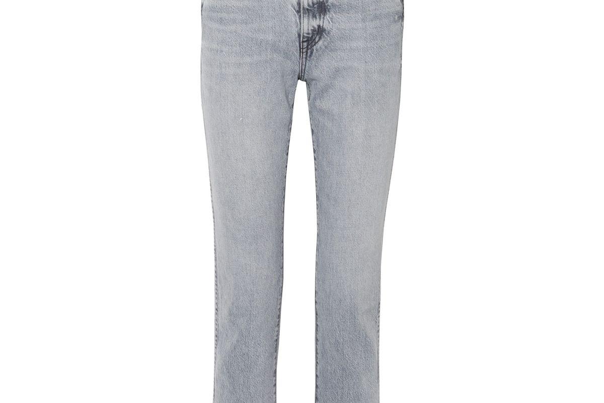 slvrlake hero cropped frayed high rise straight leg jeans