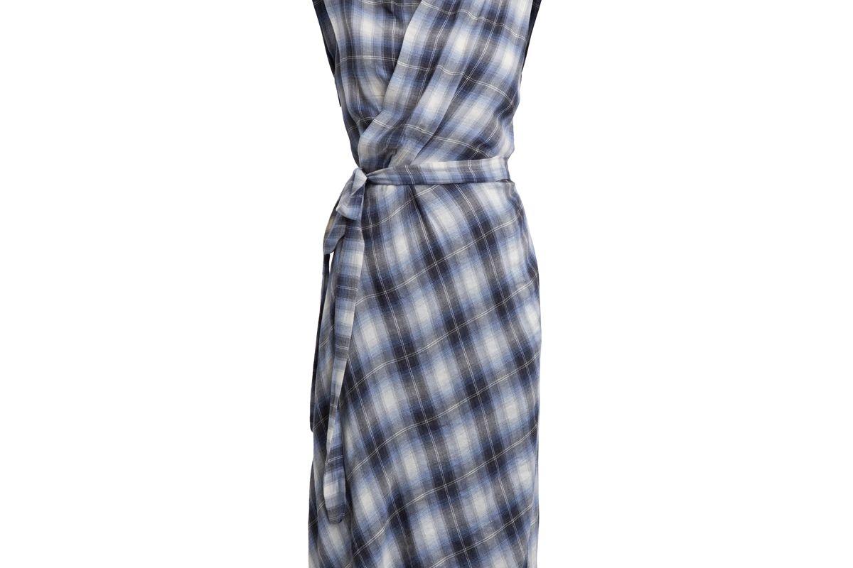 Shadow Plaid Sleeveless Cotton Wrap Dress