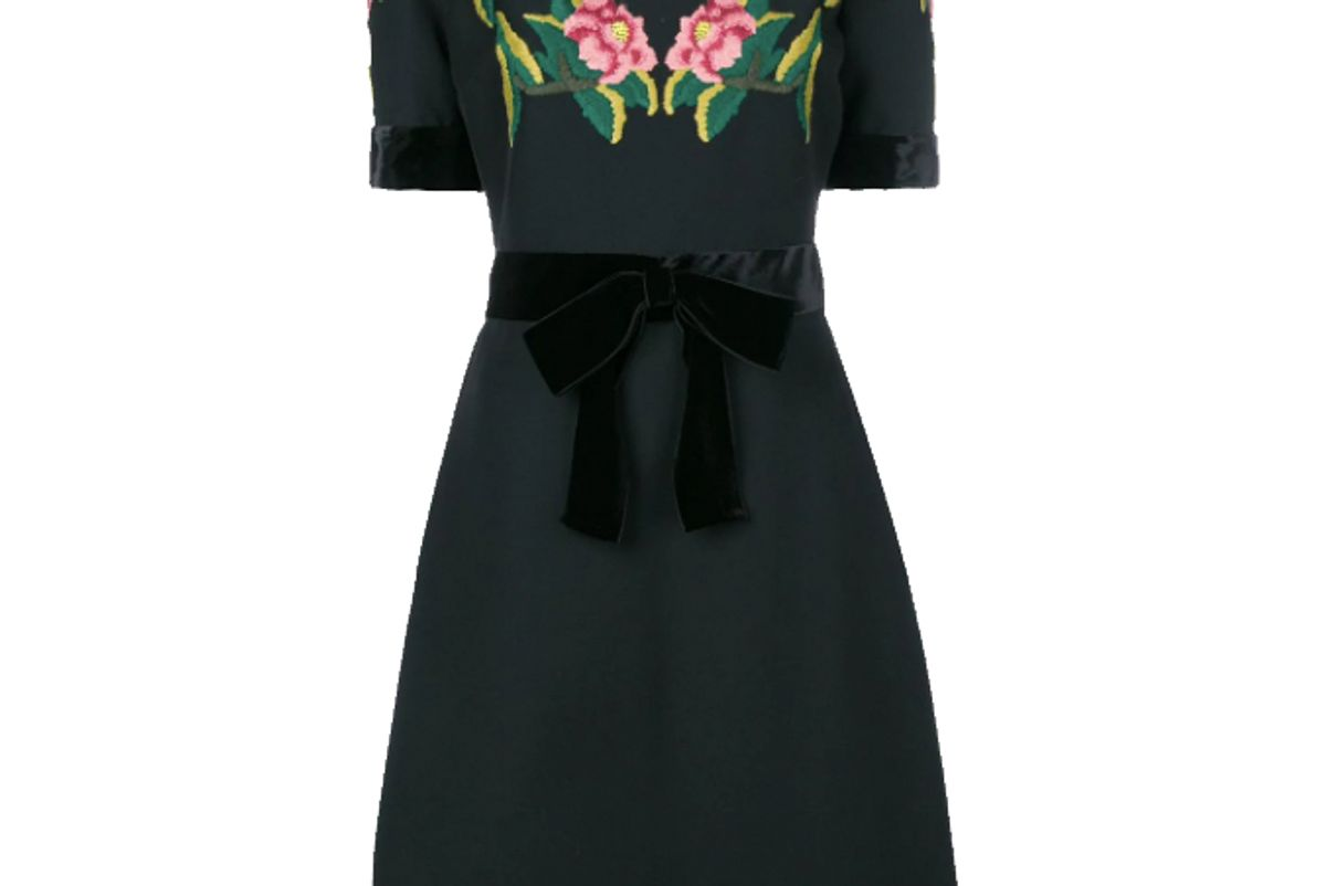 gucci floral embroidered dress