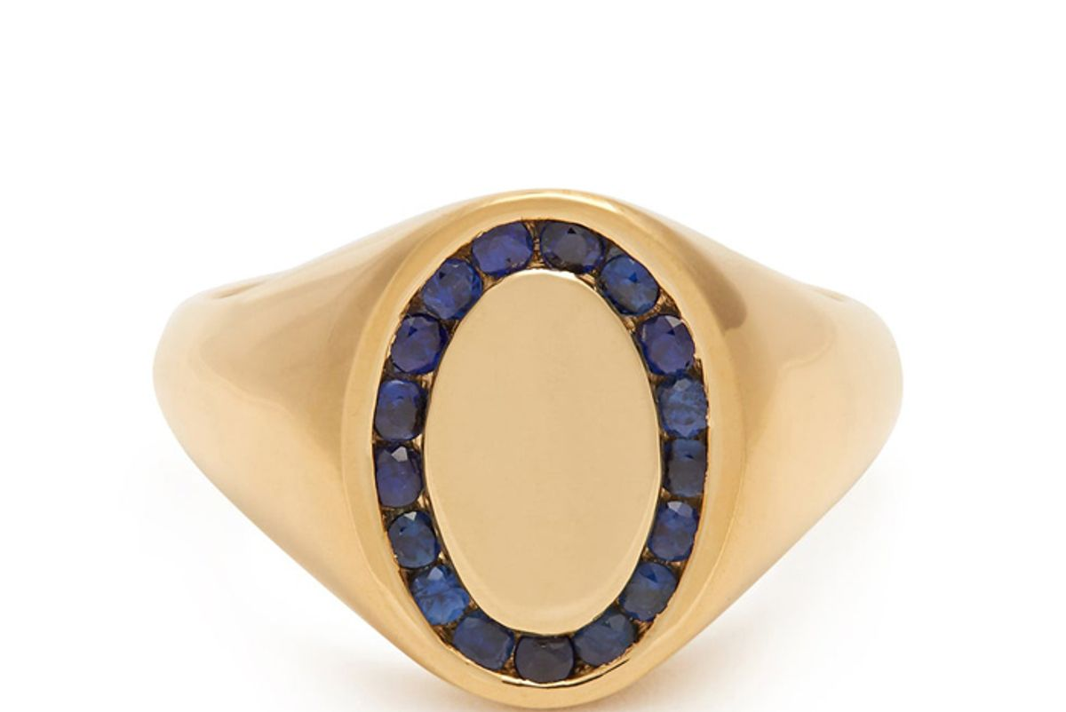 jessica biales sapphire and yellow gold ring