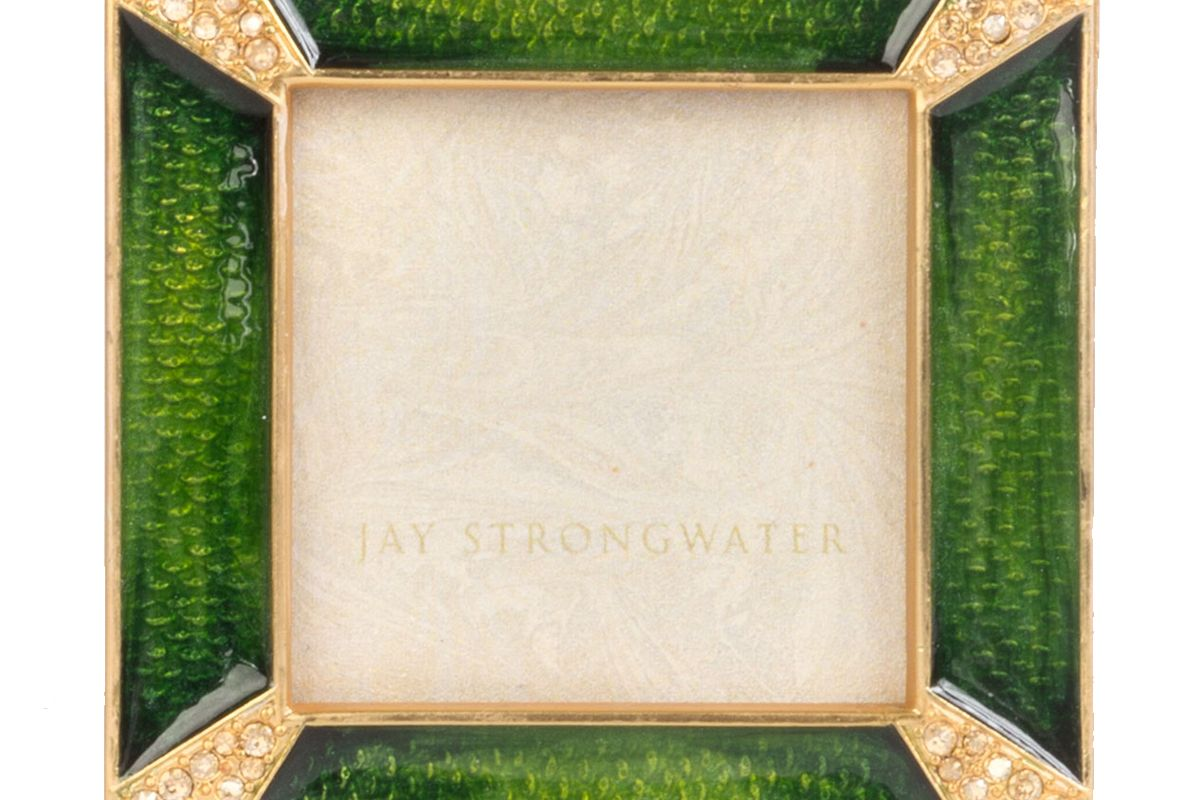 jay strongwater leland pave corner square picture frame