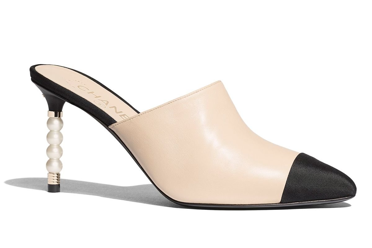 chanel lambskin and grosgrain mules