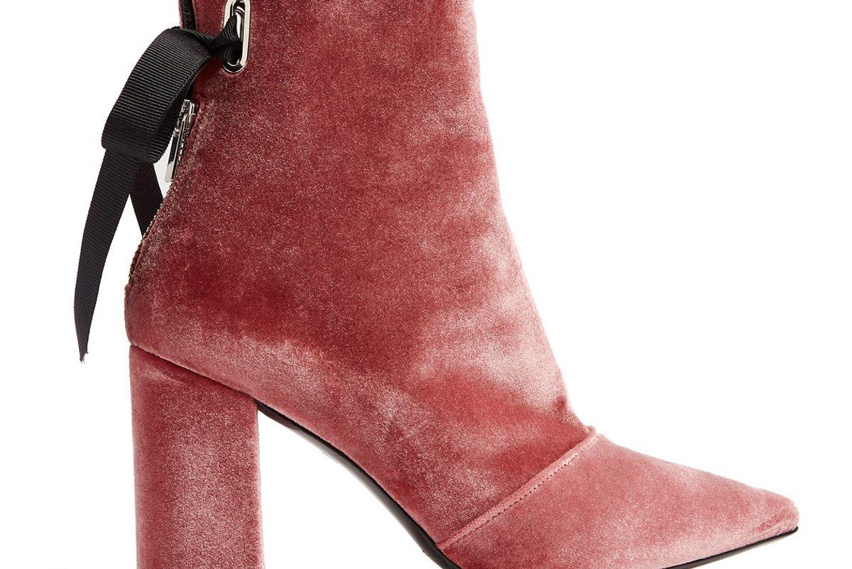 x Self Portrait Karlit Velvet Ankle Boots