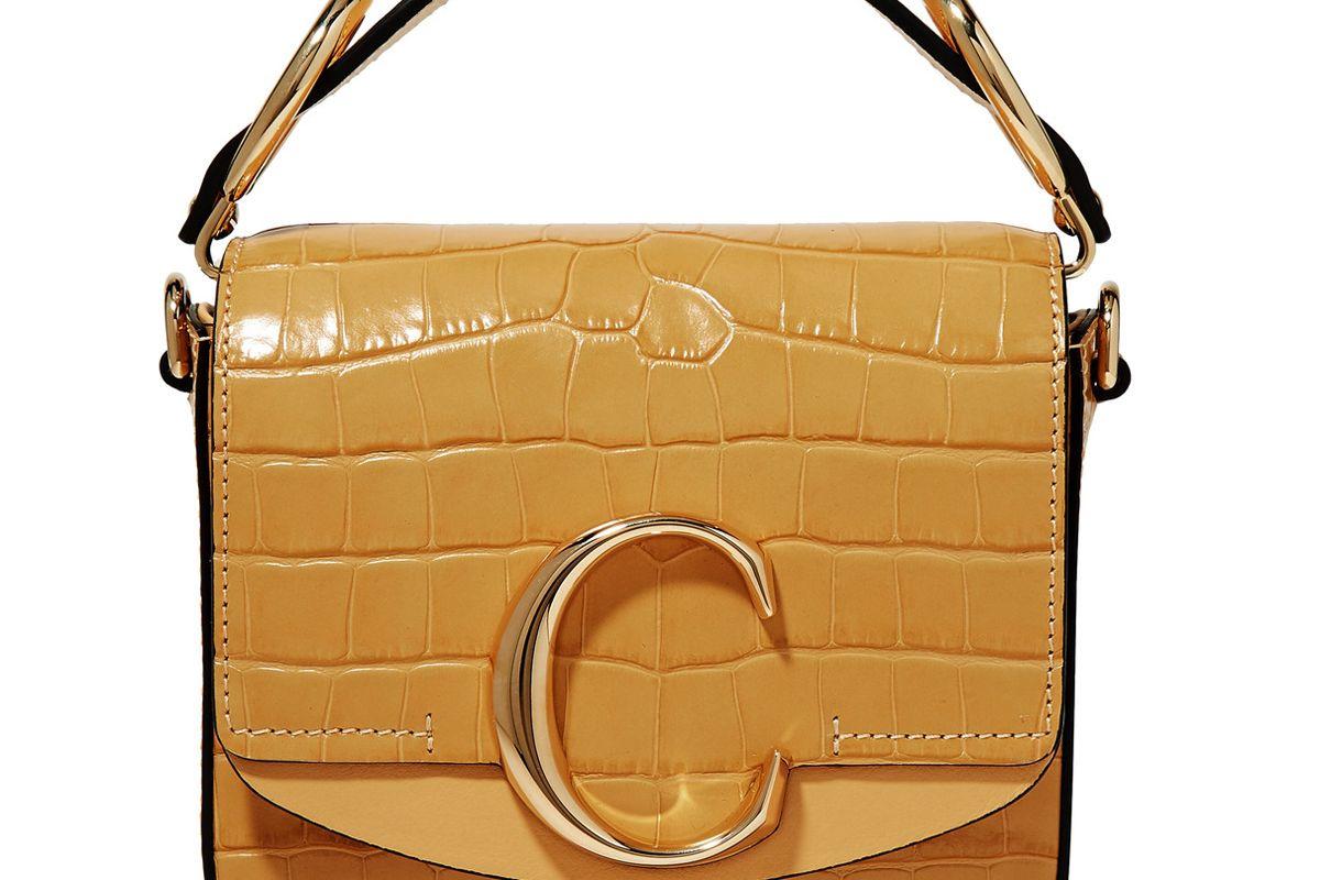 chloe c mini smooth and croc effect leather shoulder bag