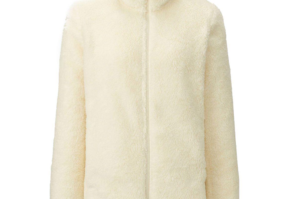 Women Fluffy Yarn Fleece Full-Zip Jacket in Off-White