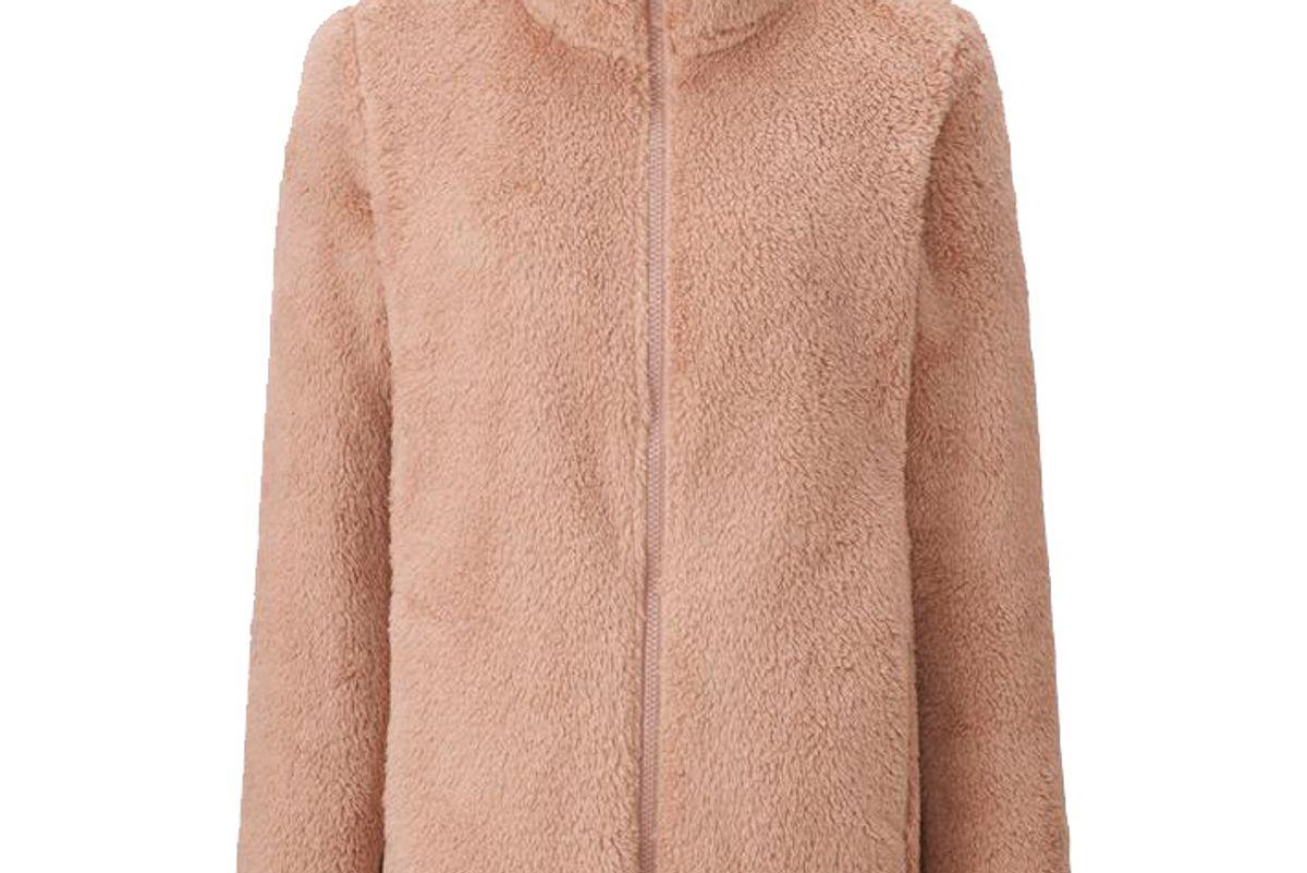 Women Fluffy Yarn Fleece Full-Zip Jacket in Light Pink