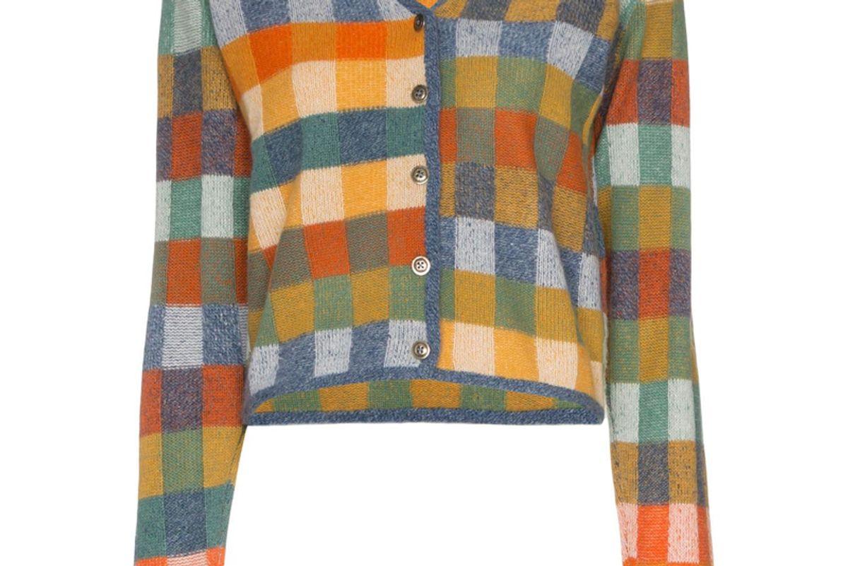 the elder statesman gee's plaid cashmere cardigan