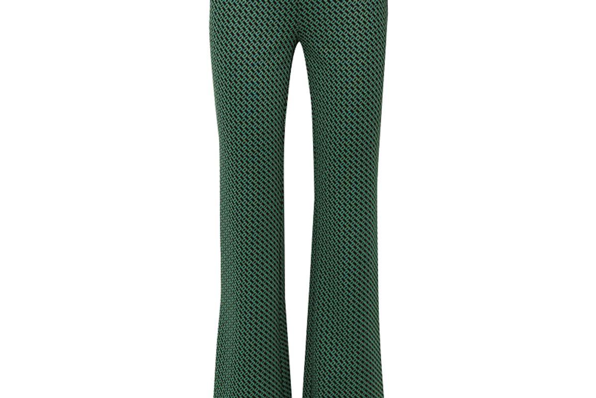 diane von furstenberg caspian stretch jacquard flared pants