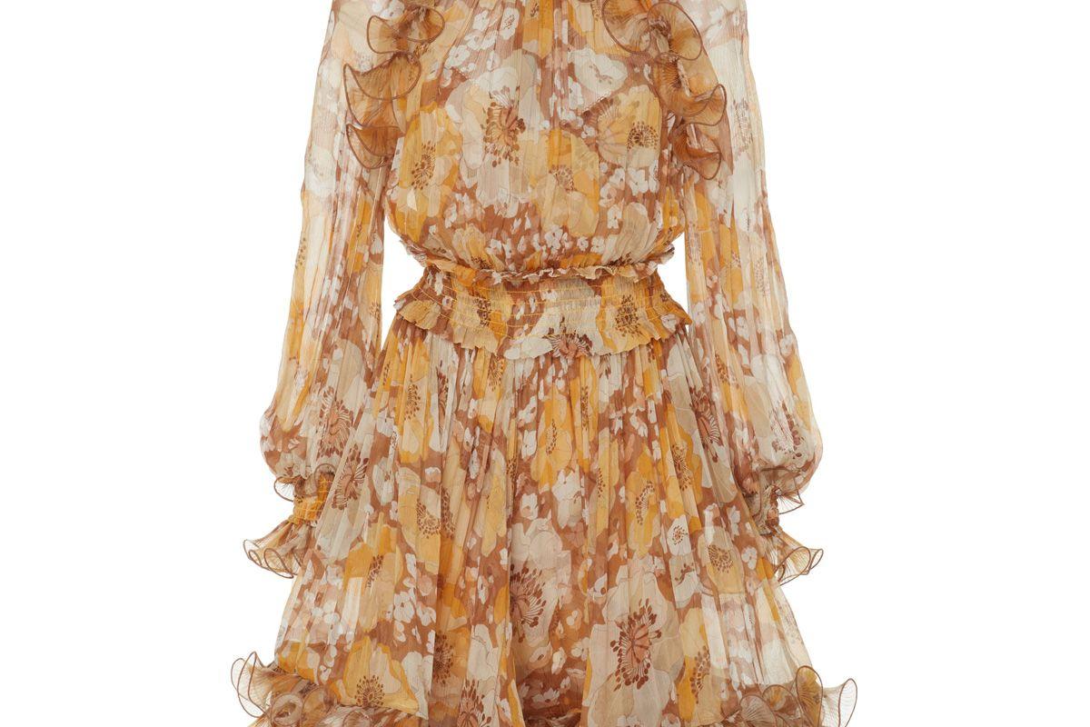 zimmermann ruffled floral print silk chiffon mini dress