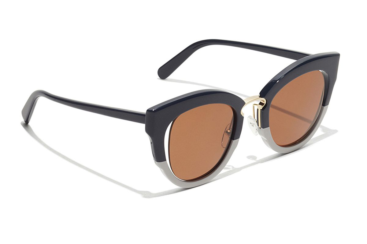 Cat Eye Sunglasses in Black/Ivory