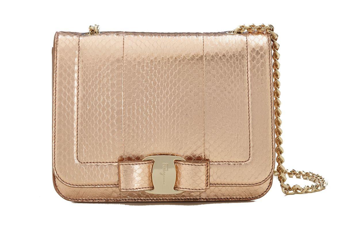 Small Vara Bow Flap Bag in Gold