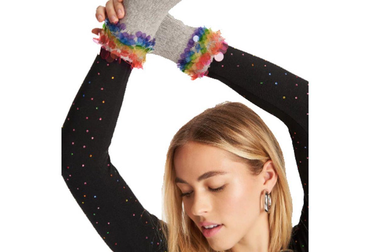 carolyn rowan x stephanie gotlieb fingerless gloves with rainbow paillettes